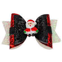 3in christmas sequins hair bows with clips for girls shiny glitter
