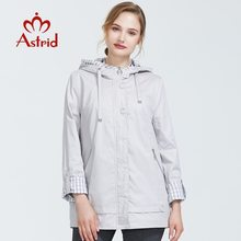 Trench-Coat Women Plus-Size Autumn Short Astrid Zipper for with Hood Warm Thin AS-9013
