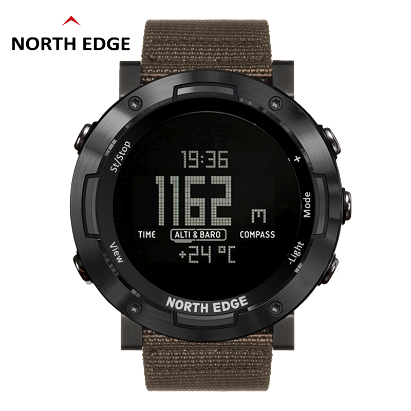 Montre numérique de bord nord montre étanche acier inoxydable horloge heure du monde Nylon bracelet de montre montres LED hommes reloj hombre ALTAY2