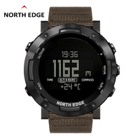 North Edge Digital Watch Waterproof Watch Stainless Steel Clock World Time Nylon Watch Band LED Watches Men reloj hombre ALTAY2