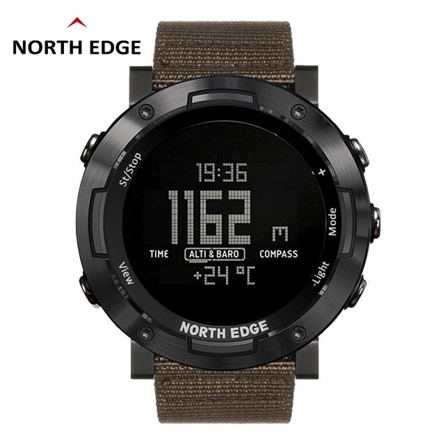 North Edge 디지털 시계 방수 시계 스테인레스 스틸 시계 세계 시간 나일론 시계 밴드 LED 시계 남자 reloj hombre ALTAY2