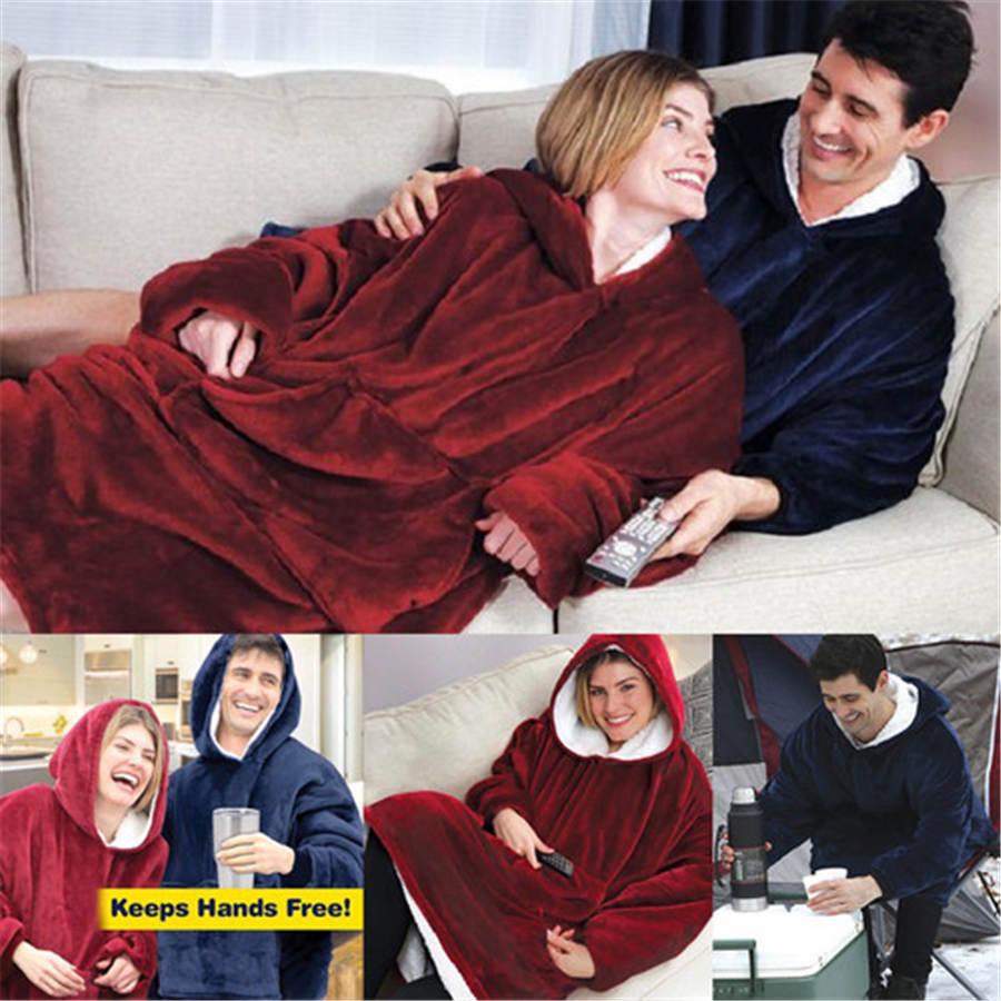 Boże narodzenie bielizna nocna mężczyźni kobiety zimowe polarowe nadające się do noszenia koc z rękawami i kieszeń mikro pluszowe ciepłe Snuggie bluzy z kapturem koszula nocna