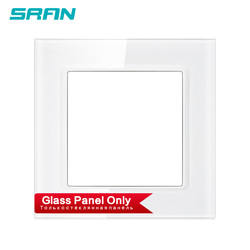 SRAN F6 Blank panel without Installing iron plate 82mm * 82mm white Crystal glass panel switch socket panel accessories