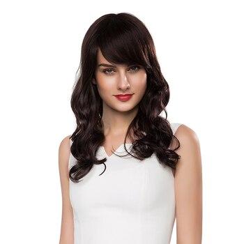 Encantadoras pelucas negras onduladas de rizado largo pelo humano Real extensiones de Peluca de cabeza completa Natural para vestido de fiesta diario