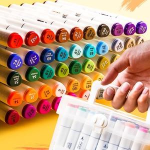 Image 4 - פעמיים בראשות סימן עט סט אספקת אמנות צבעוני עמיד למים עט מברשת עט ציור Copic מעולה סמני צבעוני עמיד למים עט