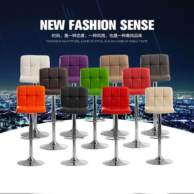 2pcs Modern Fashion Bar Chair Soft PU Leather Barstool Chair Swivel Adjustable High Stool Kitchen Living Room HWC