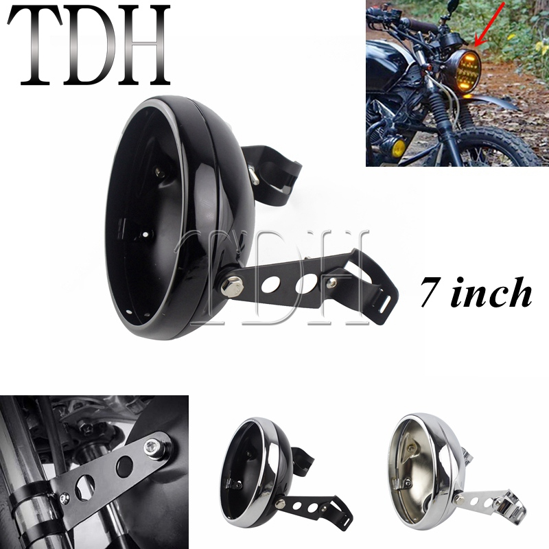 7 INCH Motorcycle Headlight Cover Black For Harley Custom LED Headlight Housing Mount Bracket Universal Bucket Shell Lighthouse|  - title=