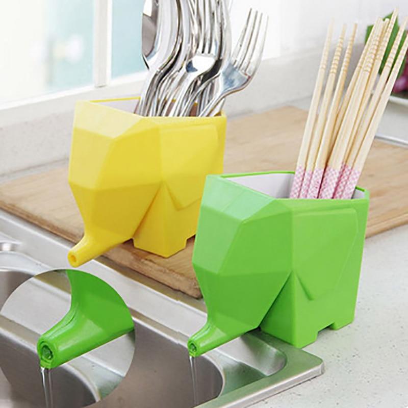 Kitchen Cutlery Holder Drainer Elephant Sink Drain Rack Spoon Fork Chopsticks Storage Shelf Organizer Bathroom Accessories
