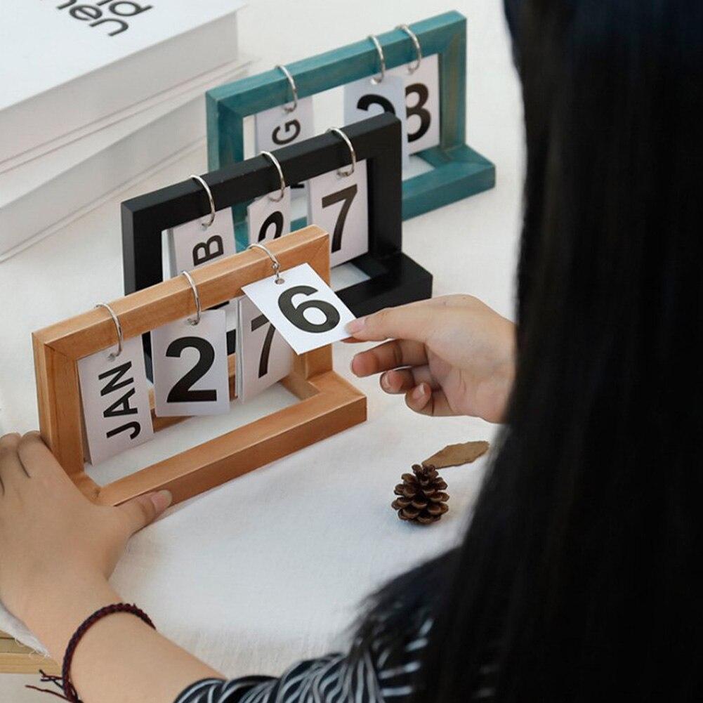 Office Wooden Vintage Home Calendar Cafe Desktop Decorative Rustic Ornaments DIY Flip Daily Planner Table Planner Calendar