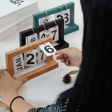 Oficina de madera Vintage hogar calendario café escritorio decorativo adornos rústicos DIY Flip planificador diario tabla planificador calendario