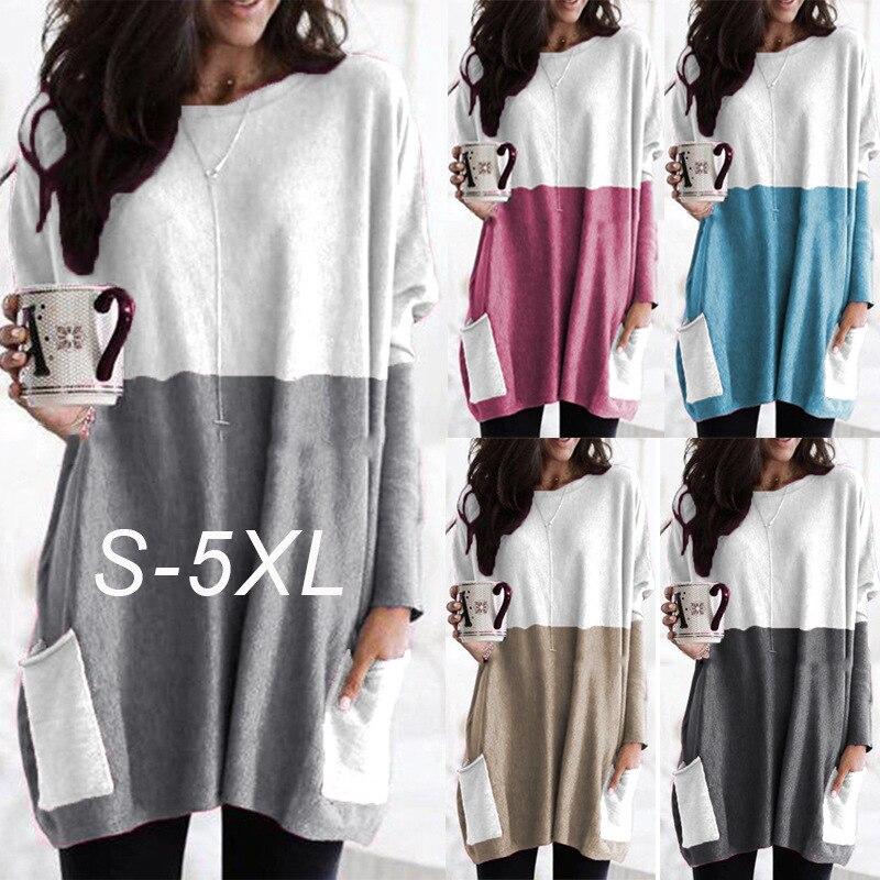 Fashion Pocket Sexy Women T-Shirt O-Neck Long Sleeve Splice Long T-Shirts 2019 Autumn Winter Loose Tops T-Shirts Plus Size S-5XL