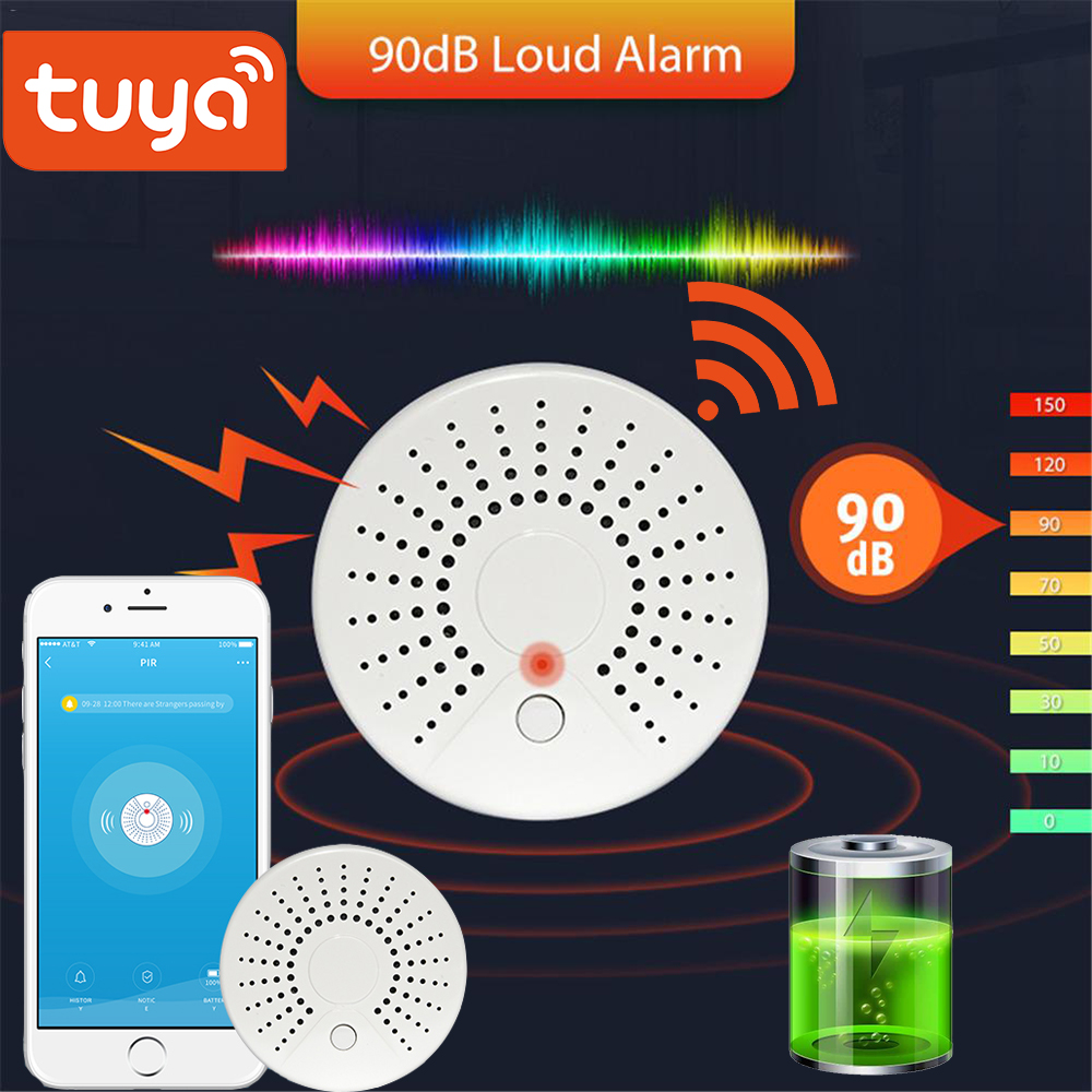 Tuya Wireless Smoke Detector Security Alarm System Smart Life Standalone WiFi Smoke Detector Alarm Sensor App Push Information