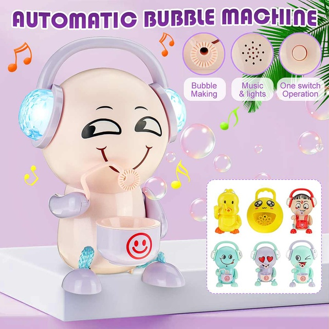 Automatic Bubble Machine Music Light Electric Bubble Maker Baby Kids Outdoor Swimming Bathtub Soap Bubble Blower Water Toy Cute 2