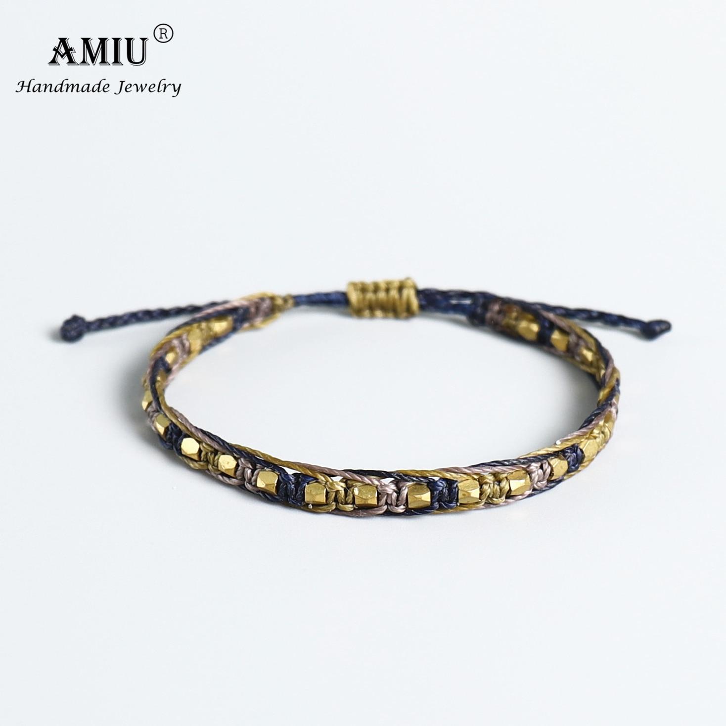 AMIU Handmade Macrame Copper Bead Waterproof Wax Thread Lucky Rope Bracelet & Bangles For Women Men Friendship Woven Bracelets