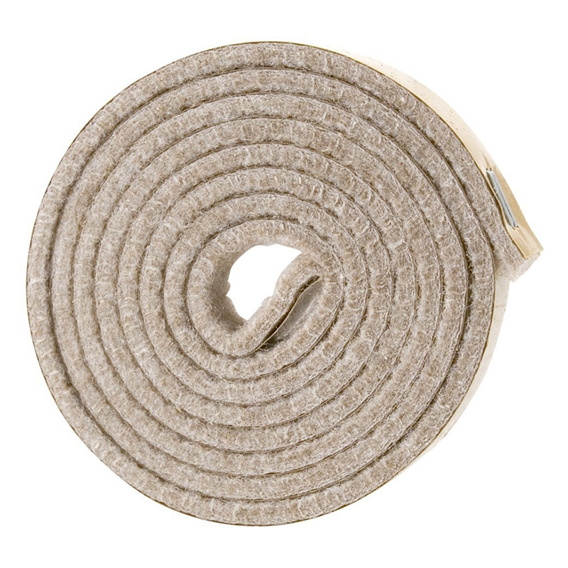 Self-Stick Heavy Duty Felt Strip Roll For Hard Surfaces (1/2 Inch X 60 Inch), Creamy-White