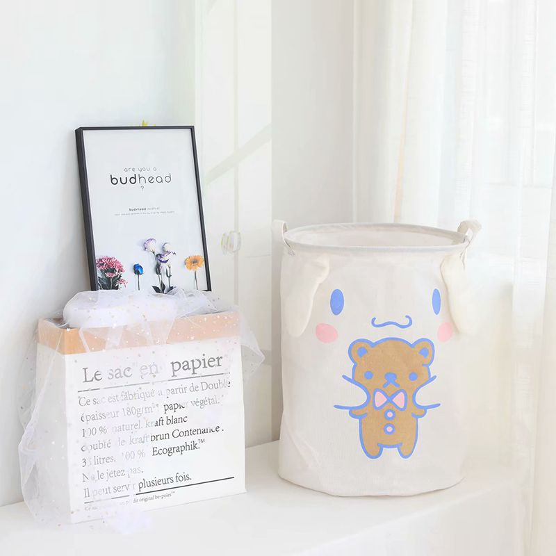 My Melody Cinnamoroll Pudding Dog Anime Cartoon Foldable Laundry Bucket Oxford Waterproof Kawaii Home Clothes Basket Storage Bag