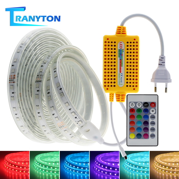 1 M-15 M 5050 tira de Led 220V RGB cinta Flexible cinta Led tira de luz impermeable con 24 teclas IR remoto para decoración al aire libre en el hogar
