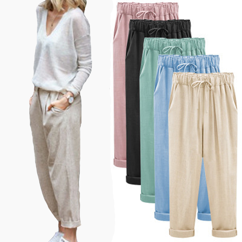 2020 Summer And Autumn Thin Casual Capris Europe And The United States Straight Bobbin Plus Fat Pants M284