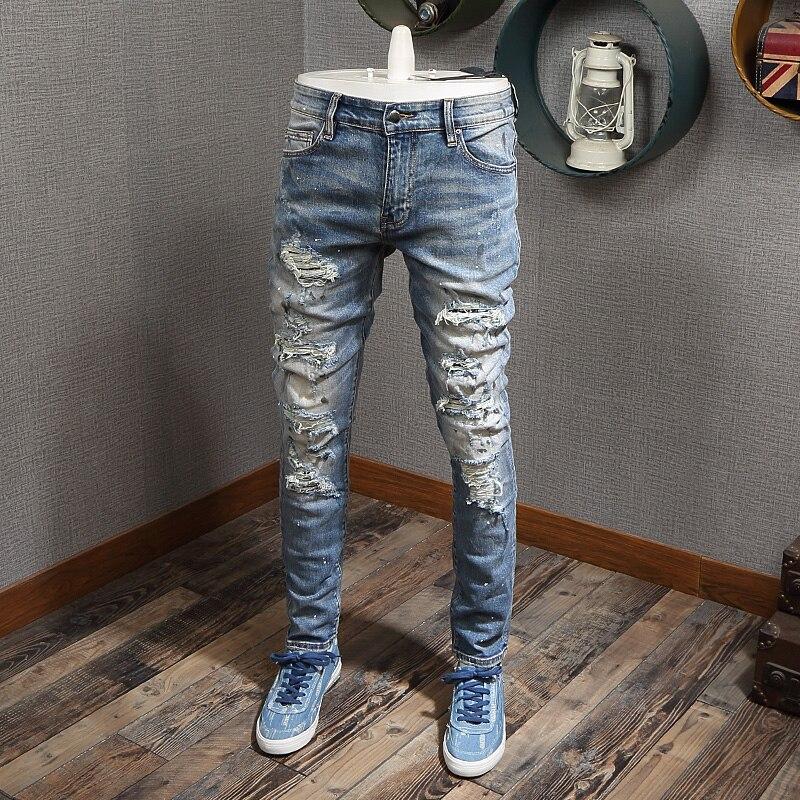 Newly High Street Fashion Men Jeans Light Blue Painted Designer Ripped Jeans Men Destroyed Pants Patchwork Hip Hop Jeans Homme