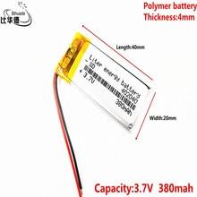 ลิตรพลังงานแบตเตอรี่ 042040P 3.7V 402040P 380MAHแบตเตอรี่ลิเธียมโพลิเมอร์MP4 MP3 อ่านจุดปากกาแฟลชรองเท้าส่องสว่าง