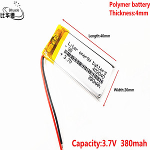Image 1 - Liter energy battery 042040P 3.7V 402040P 380MAH lithium polymer battery MP4 MP3 point reading pen flash shoes luminous shoes