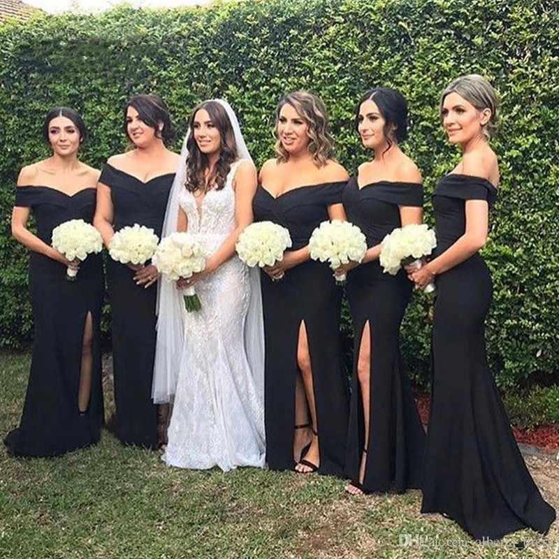 Vestidos De Dama De Honor De La Señora Win Vestidos Negro De Hombro Partido Lateral Elegante Vestidos De Invitados De Boda Hr300 Sirena Vestido Largo