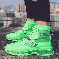 Однотонная модная Уличная обувь; мужские кроссовки с прозрачной подошвой; chaussure homme; обувь для папы с высоким берцем; цвет оранжевый, зеленый,...