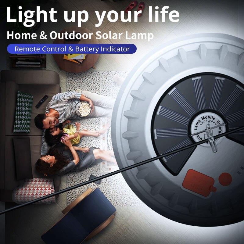 Перезаряжаемая светодиодный ная лампа с дистанционным управлением, портативный фонарь на солнечной батарее, аварийный ночник для рынка, ул...
