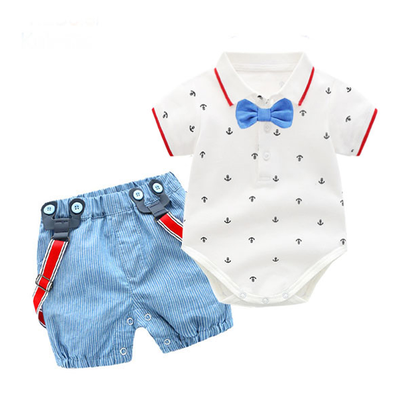 Baby Boy Outfit Clothes Bow Tie  Party Birthday Fashion Romper Overalls Suit Printed Romper Summer Infant Boy Gift