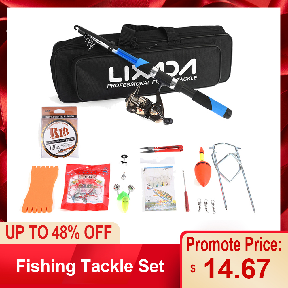 Lixada Fishing-Tackle-Set Fiberglass Spinning-Reel Seawater Baits Sea-Rod Telescopic title=