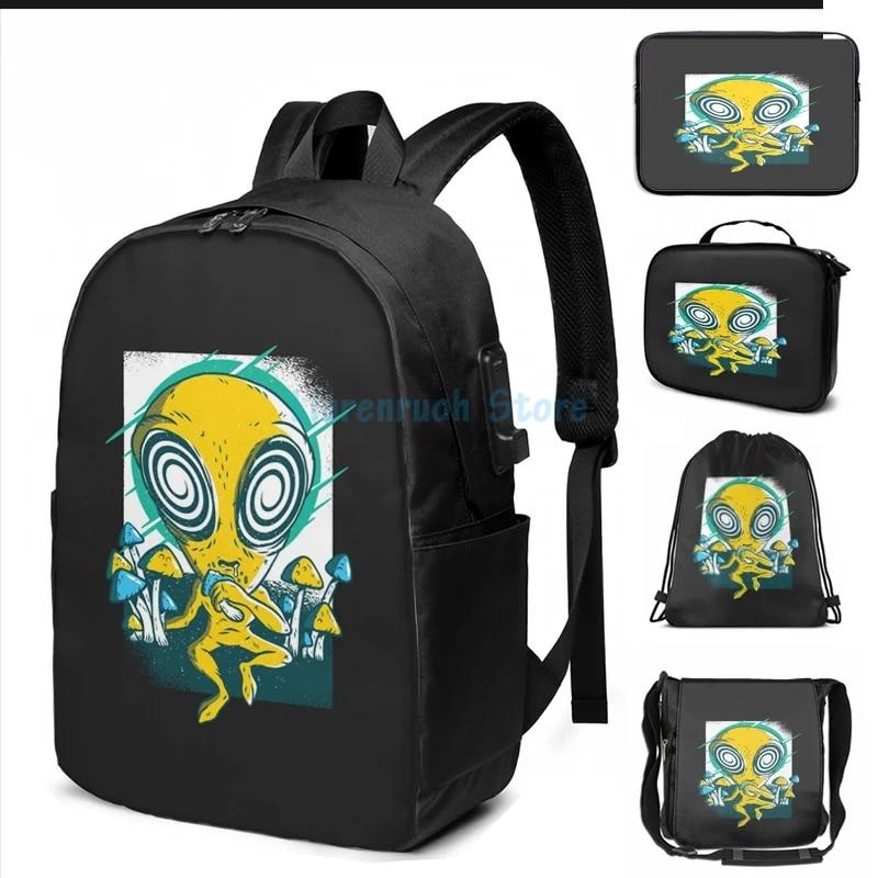 Black Trippy Alien 17 Inch Travel Laptop Backpack Bag for Men Women