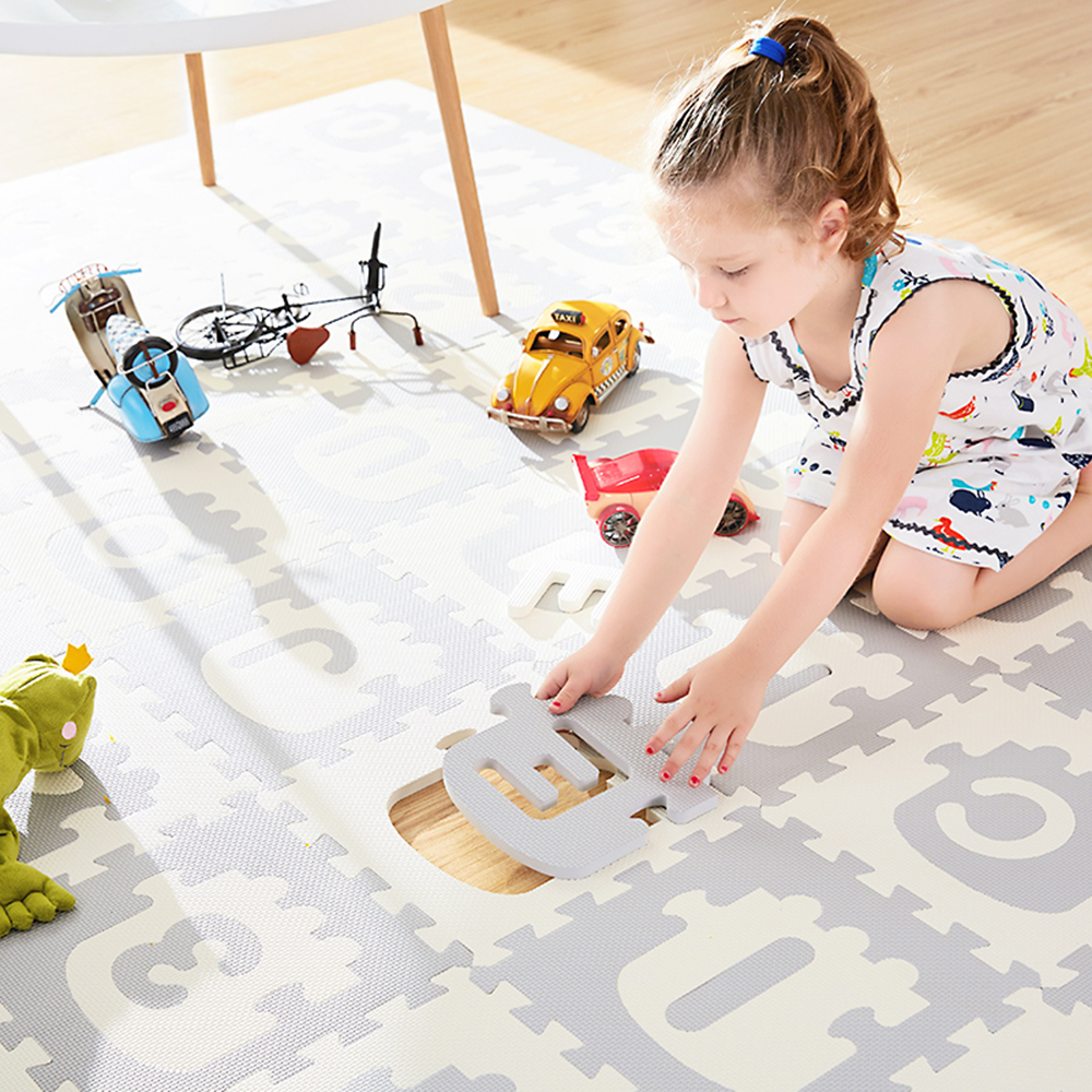 Train Alphanumeric Child Jigsaw Pad Baby Bedroom Anti Slip Play Mat 30*30*1.4cm