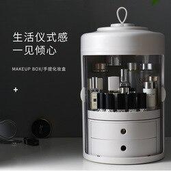 Sanqing Chain Link Fencing Rode Make-Up Opbergdoos Lade Hand type Transparante Desktop Huidverzorgingsproducten Opslag Stofdicht Cosm