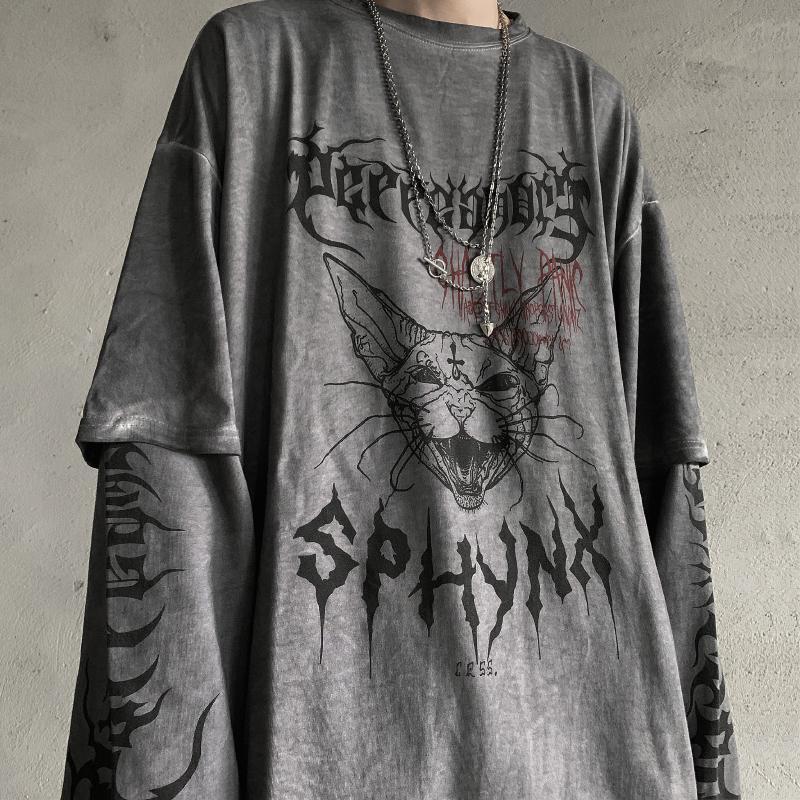 Punk Cat T Shirt Streetwear Cool Patchwork Tshirt Harajuku Summer Tops Tees Spring Long Sleeve High Street Loose Japan T-Shirt