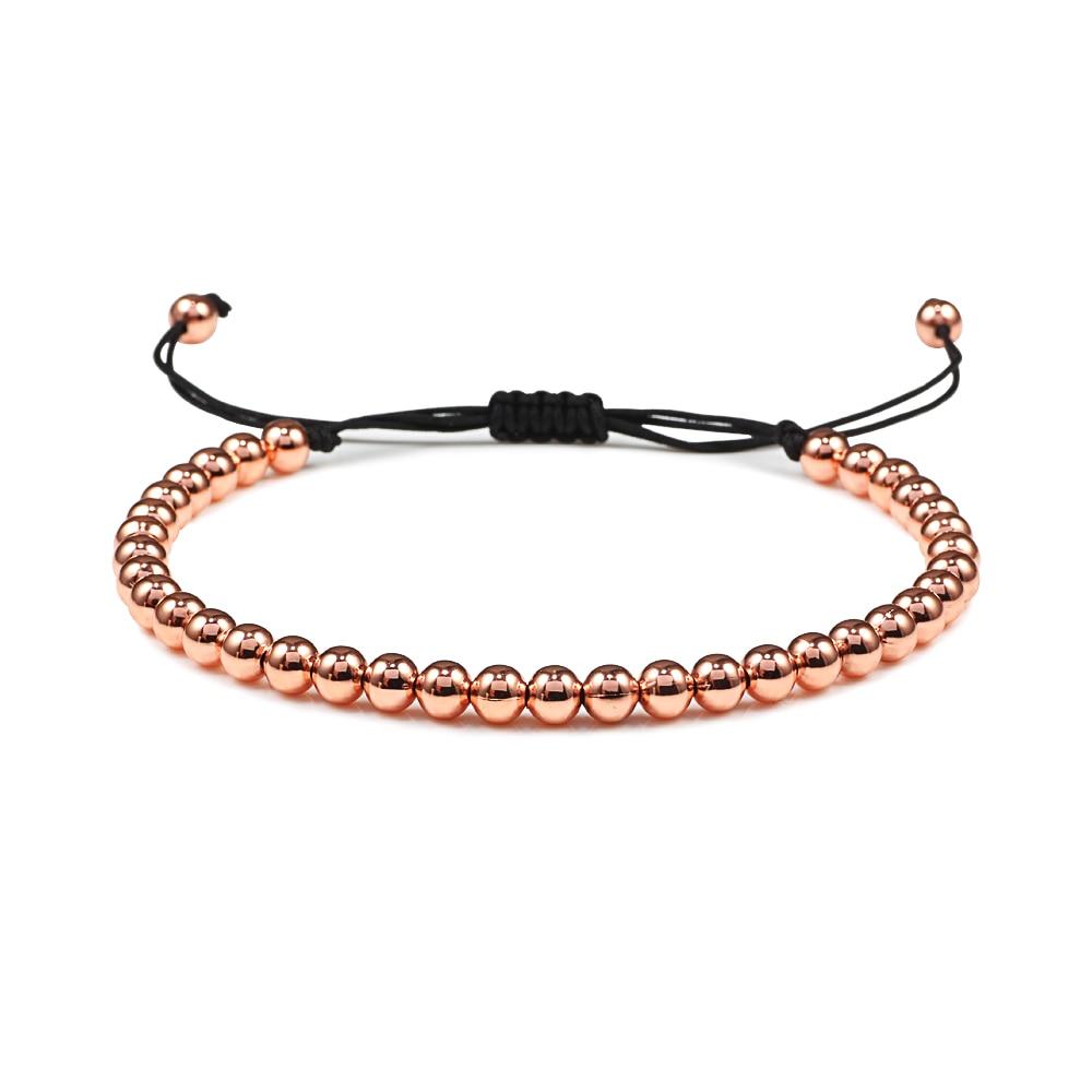 Fashion Men Bracelet Hematite Gold Silver Color Beads Charm Handmade Weave Adjustable Bracelets Bangle Accessories Women Jewelry