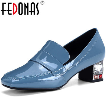 FEDONAS  Women Pumps Rhinestone Crystal Shallow Cow Patent Leather Spring Summer Office Pumps 2020 New Arrival Shoes Woman
