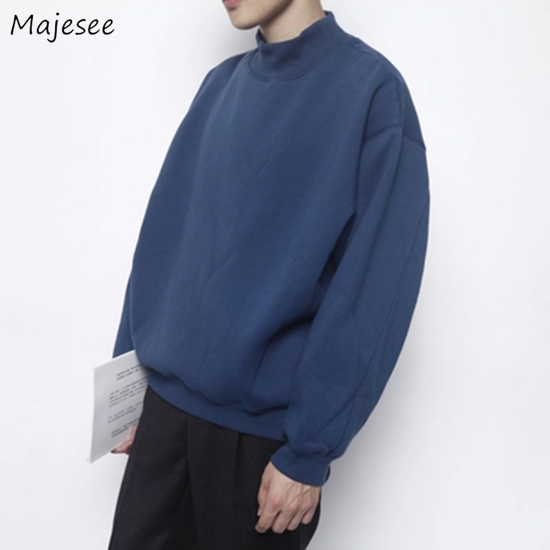 Hoodies Men Plus Velvet O-Neck Leisure Solid Simple All-match Korean Style Sweatshirts Mens Harajuku Trendy Loose Chic Pullover