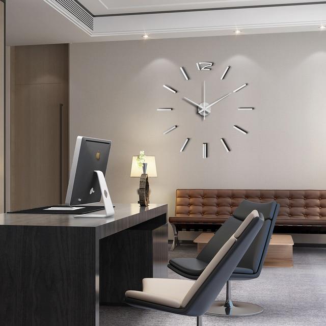 50cm 3D Wall Clock Modern Design DIY Acrylic Mirror Stickers Clock for Living Room Bedroom Home Decor Large Silent Elreloj Mural 4