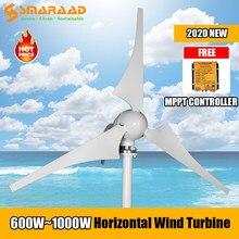 Molino de viento de 600W, 800W, 1000W, nueva energía, 3, 5, 6 cuchillas, 12v, 24v, turbina aerogeneradora pequeña, controlador MPPT gratis para farolas del hogar
