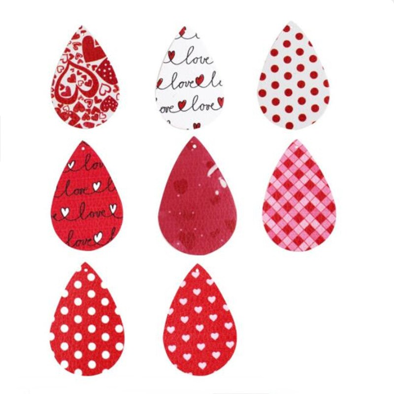10Pcs/lot 2020 Valentine's Day Faux Leather Earrings Findings For DIY Earings Making Red Love Teardrop Charms Jewelry Connector