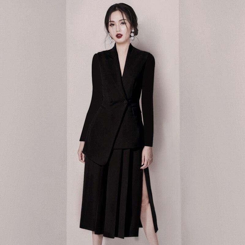 New Fashion Runway Designer Autumn Dress Women Clothes 2020 Elegant OL Notched Collar Blazer Patchwork Sexy Party Office Dress