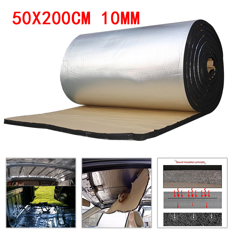 10mm Car Truck Firewall Heat Sound Deadener Insulation Mat Noise Insulation Wool Car Heat Sound Thermal Proofing Pad 50*200cm