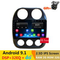 10 2.5D IPS Android 8.1 Car DVD Multimedia Player GPS for JEEP COMPASS 2010 2011 2016 car radio with DSP32EQ stereo navigation