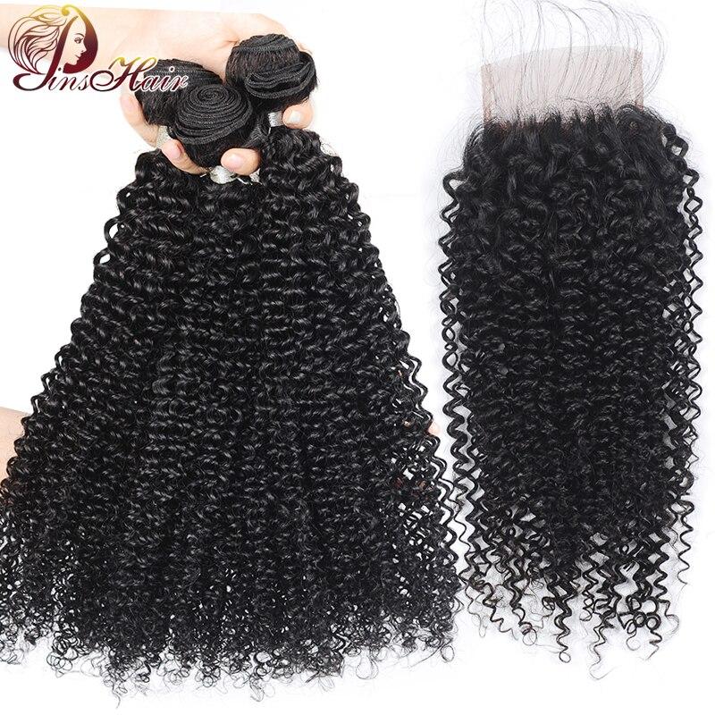 Pinshair Malaysian Kinky Curly Human Hair Bundles With Closure 100% Remy Human Hair 3 Bundles With 4*4 Lace Closure Pre-Plucked