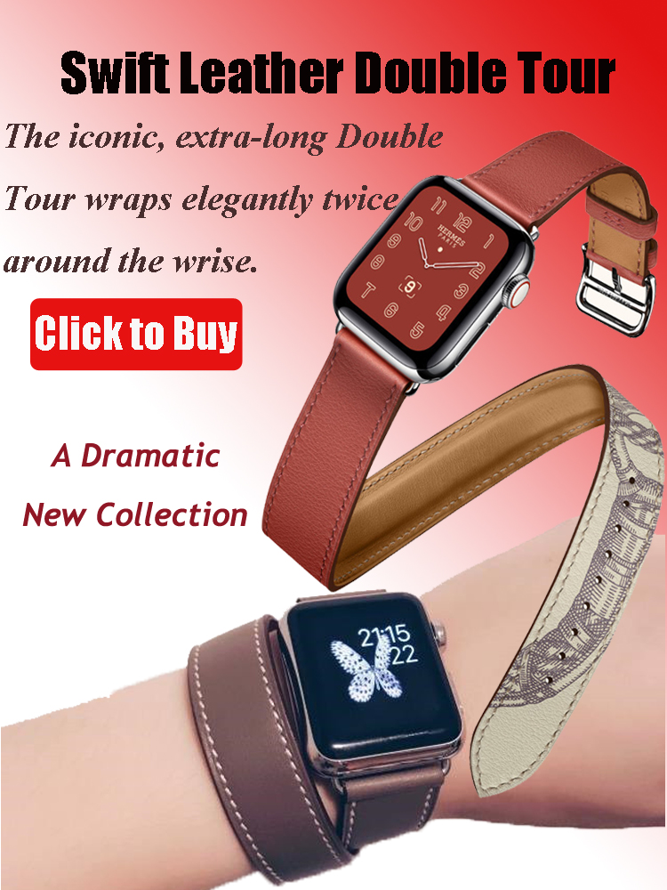 Loop Watch-Series Smart-Watch Apple 2-Strap Genuine-Leather Double-Tour-Band for Pulseira