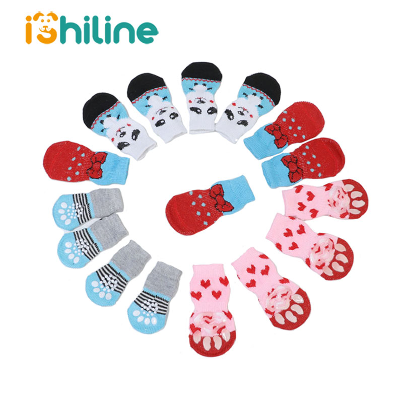 Winter Pet Dog Anti-Slip Knit Socks Small Dogs Cat Shoes Chihuahua Thick Warm Paw Protector Dog Socks Booties Accessories
