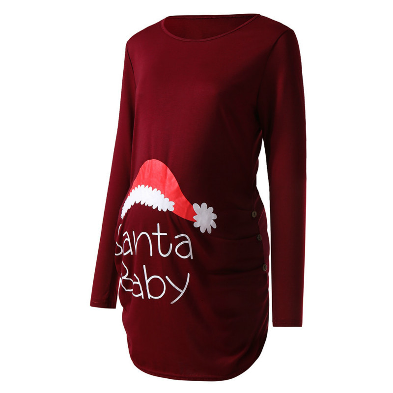 Hot Trendy Tops For Pregnant Women Santa Claus Print Maternity Clothes New Year Christmas Pregnancy Shirt Clothing
