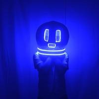 LED luminous helmet DJ head set nightclub bar electronic sound festival creative performance props electric light dance costumes