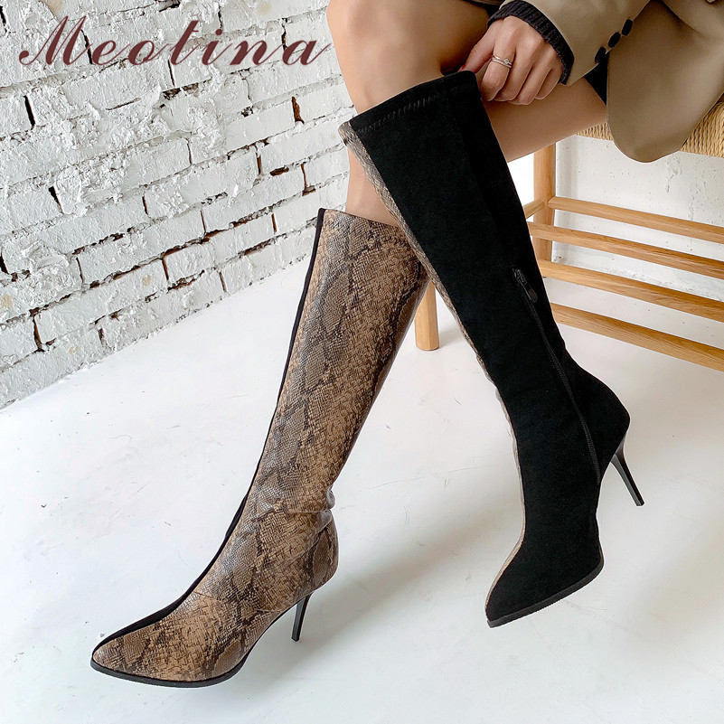 Meotina Autumn Knee High Boots Women Zipper Stiletto Heels Long Snake Print Pointed Toe Shoes Ladies Winter Size 3-12