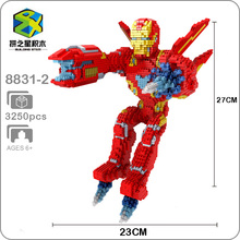 Building Star Marvel Avengers Fly Iron Man Super Hero DIY 3D Model Diamond Mini Small Blocks Toy for Children no Box